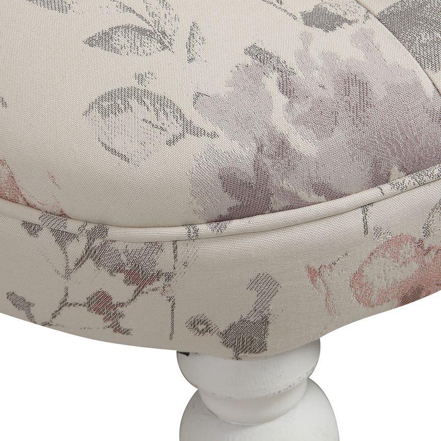 Fauteuil crapaud en hévéa blanc et tissu fleurs opaline - Bastien