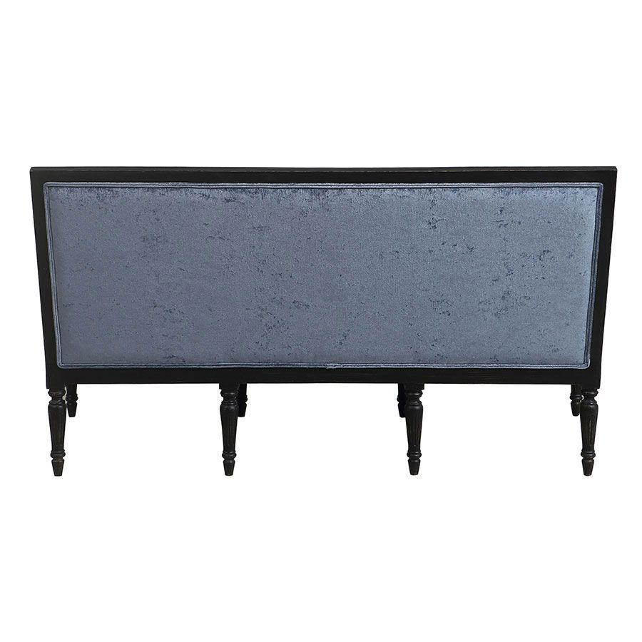 Banquette 3 places en hévéa noir et tissu effet velours bleu - Victoire