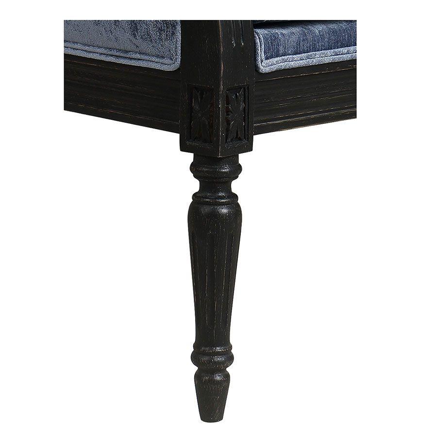 Banquette 3 places en hévéa noir et tissu effet velours bleu – Victoire