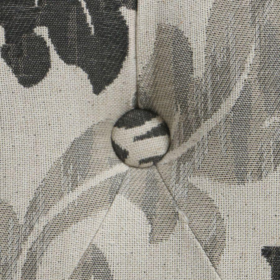 Pouf en hévéa gris et tissu arabesque capitonné - Alfred