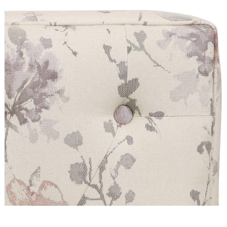 Pouf en hévéa massif et tissu fleurs opalines - Alfred