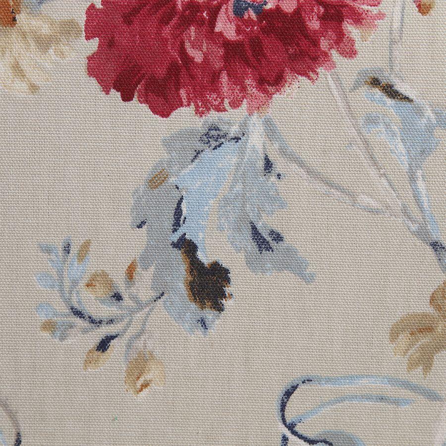 Pouf en hévéa massif et tissu jardin anglais - Édouard
