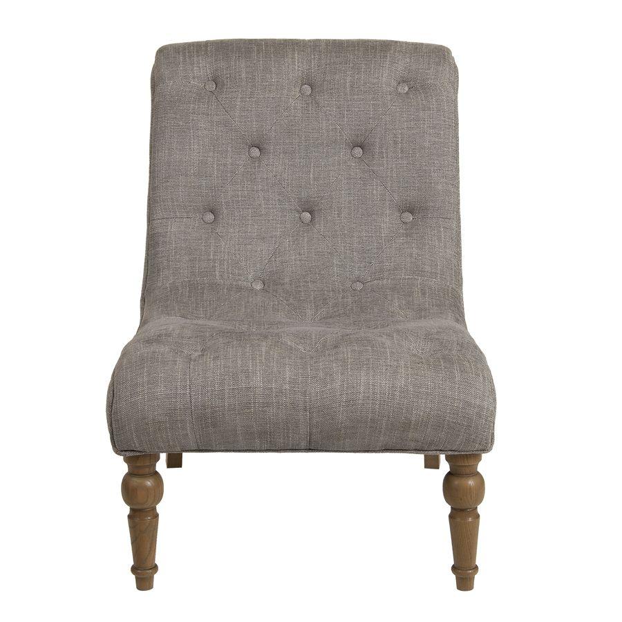Fauteuil en tissu gris chambray et frêne massif - Léopold