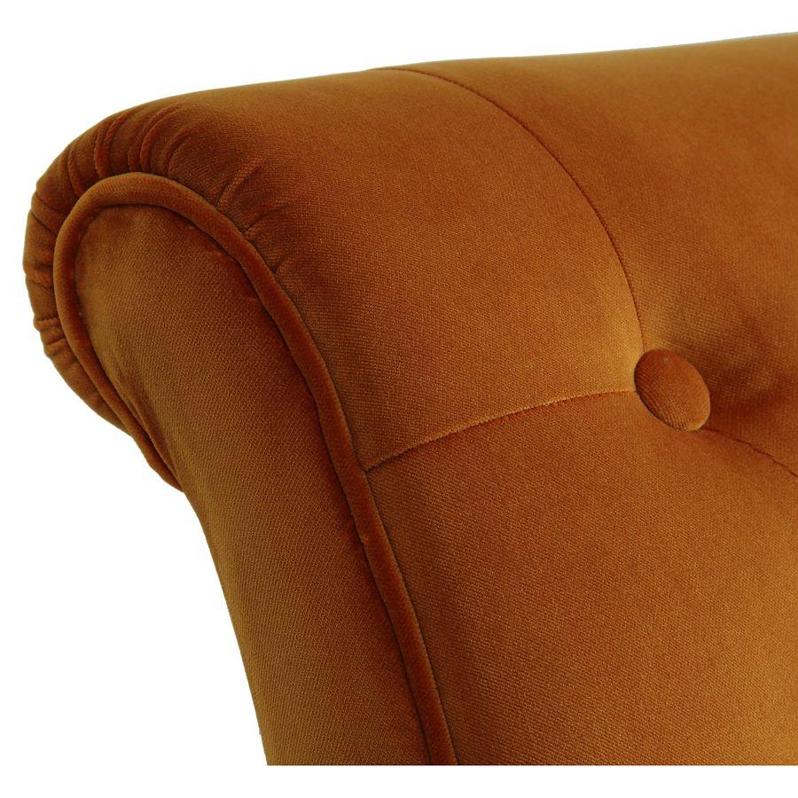 Fauteuil en tissu velours safran - Léopold