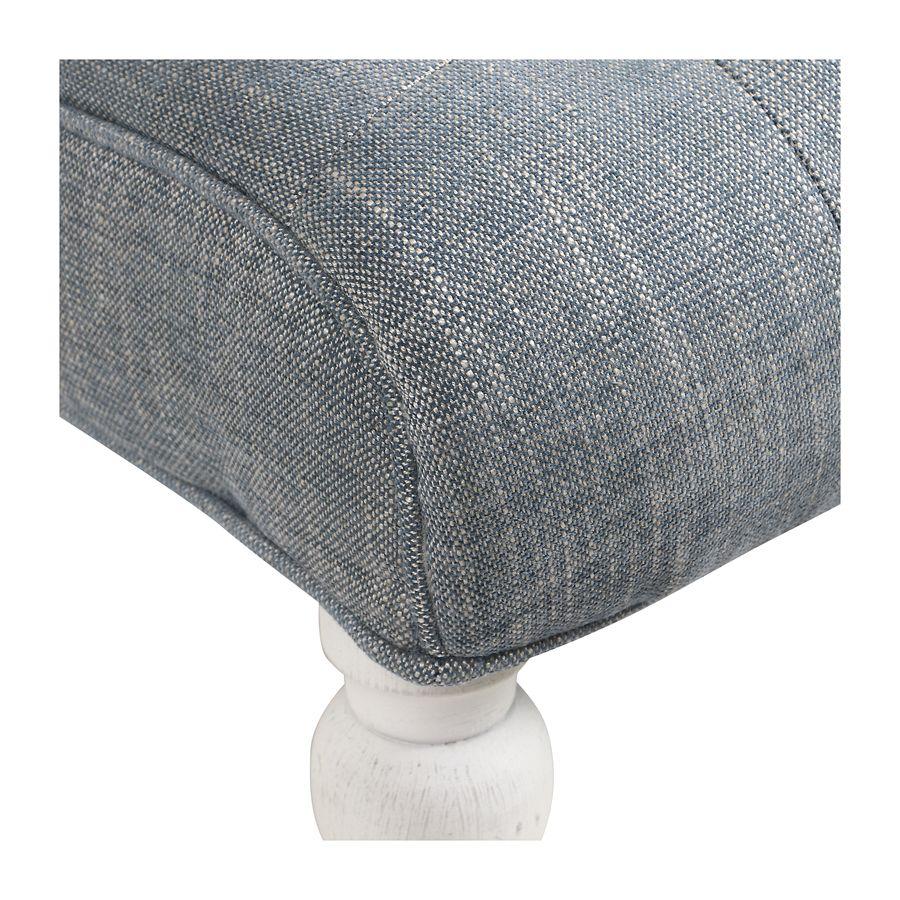 Fauteuil en tissu bleu chambray - Léopold