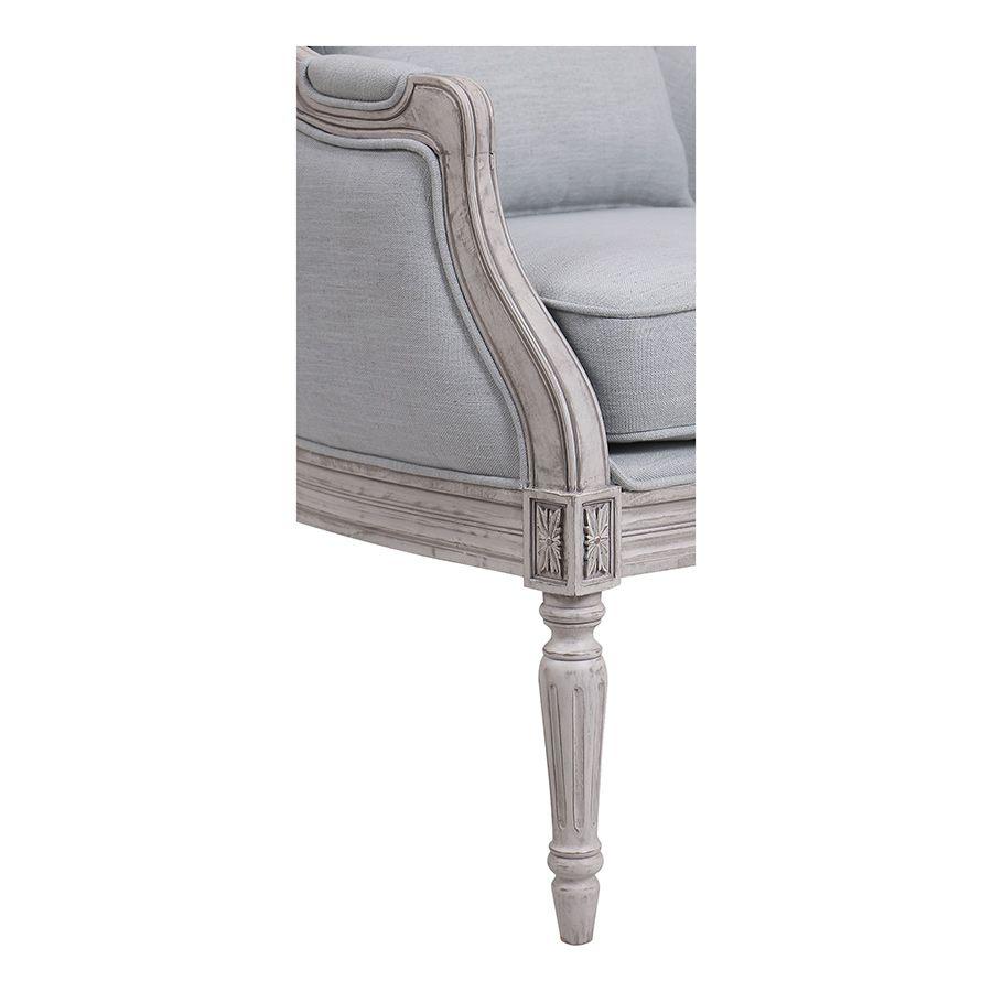 Fauteuil en hévéa gris argenté et tissu bleu glacier - Louis