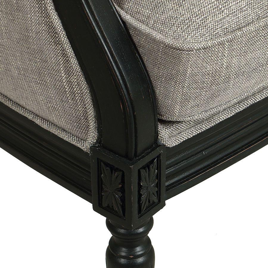 Fauteuil en hévéa noir et tissu gris chambray - Louis