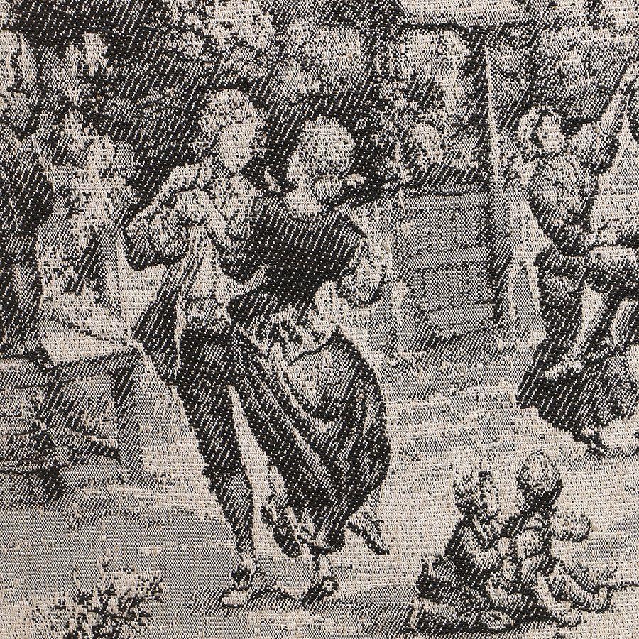 Fauteuil cabiriolet en hévéa noir et tissu toile de Jouy anthracite - Constant