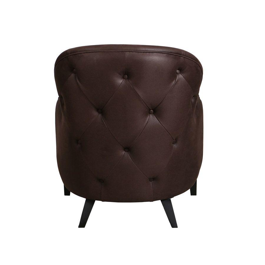 Fauteuil en éco-cuir chocolat - Oscar