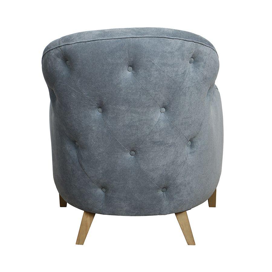 Fauteuil en tissu Velours bleu gris - Oscar
