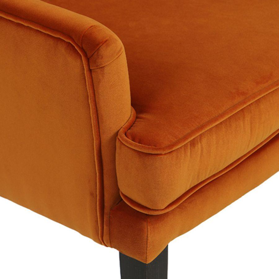 Fauteuil de table en tissu velours safran - Joseph