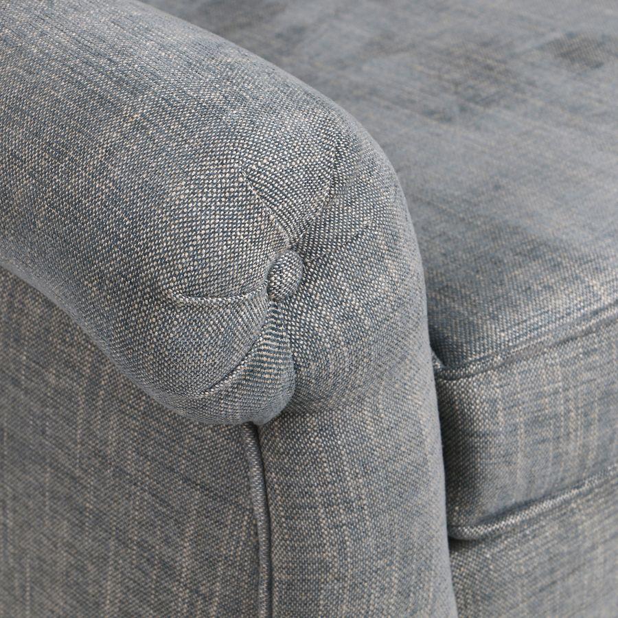 Fauteuil en tissu bleu chambray et frêne massif - Emile