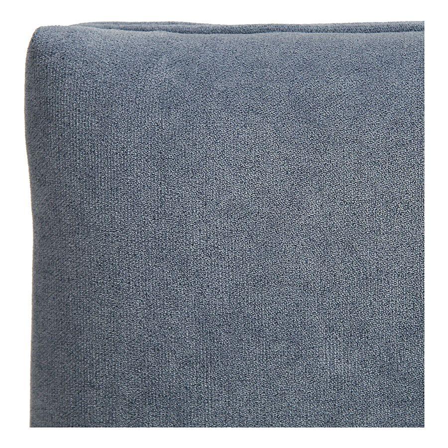 Banc ottoman en tissu velours bleu gris sans capitons - Gaspard