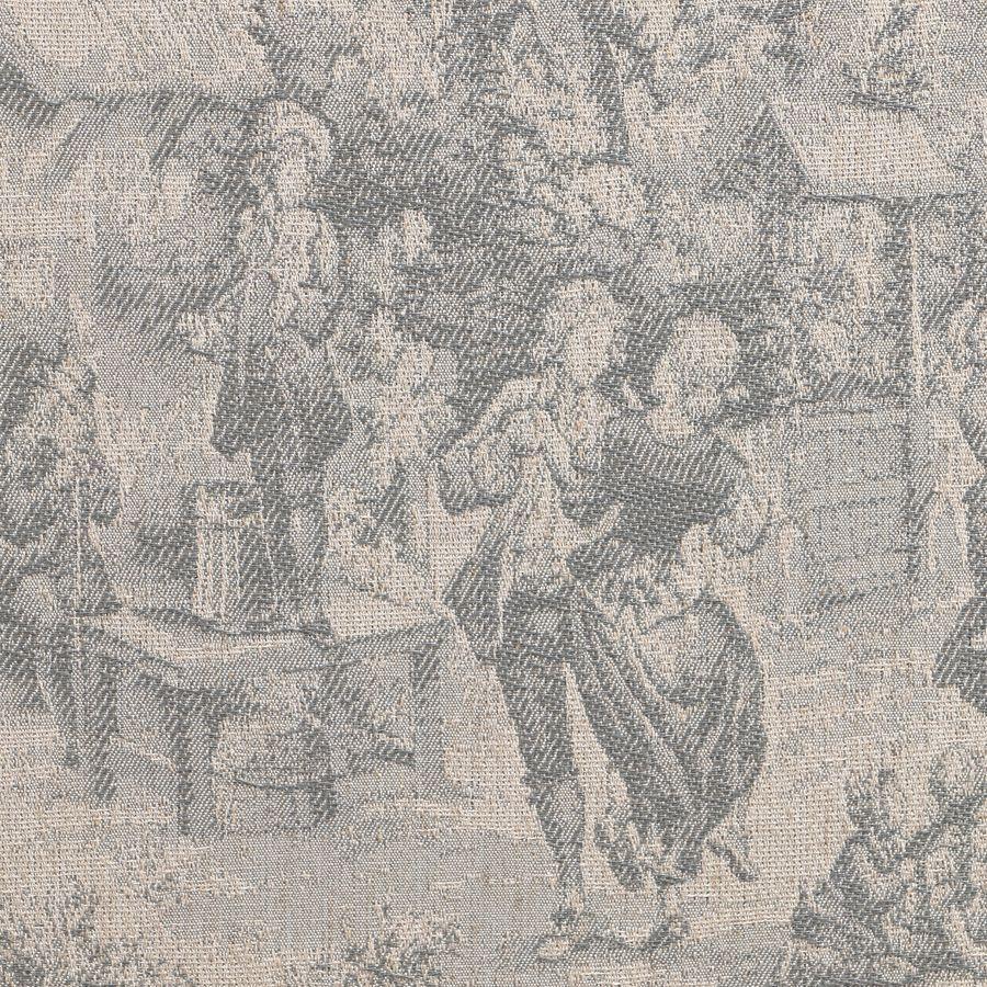Banc ottoman en tissu toile de Jouy sans capitons - Gaspard