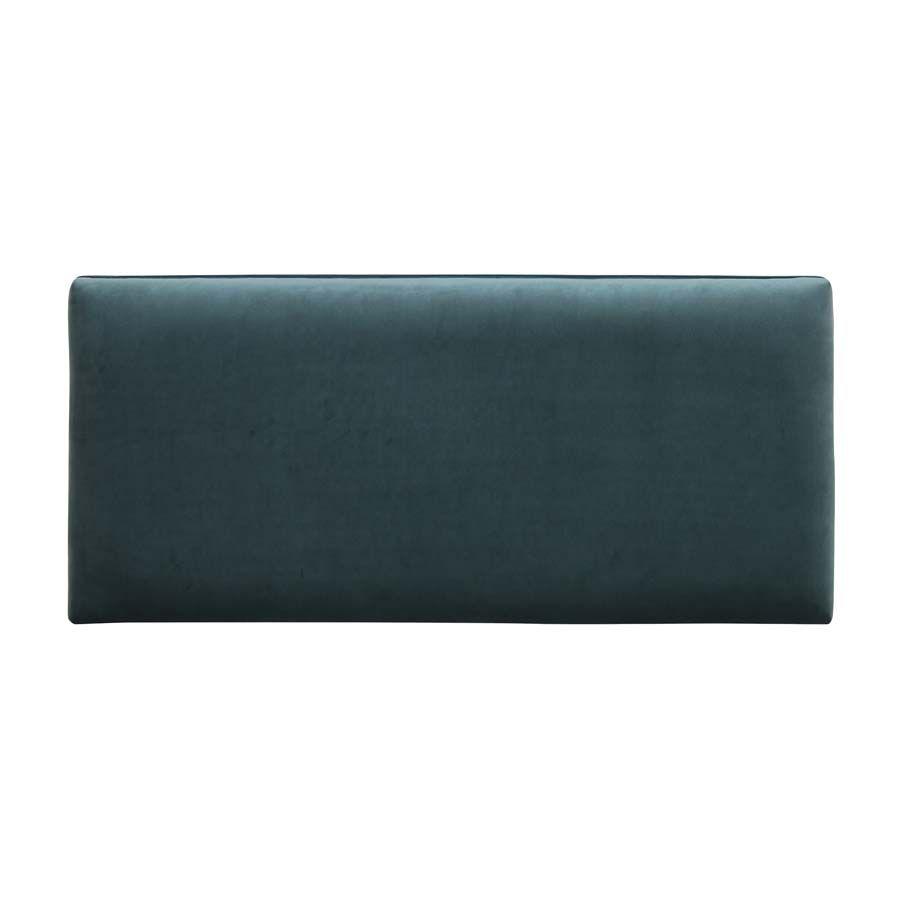 Banc ottoman en tissu velours vert bleuté sans capitons - Gaspard