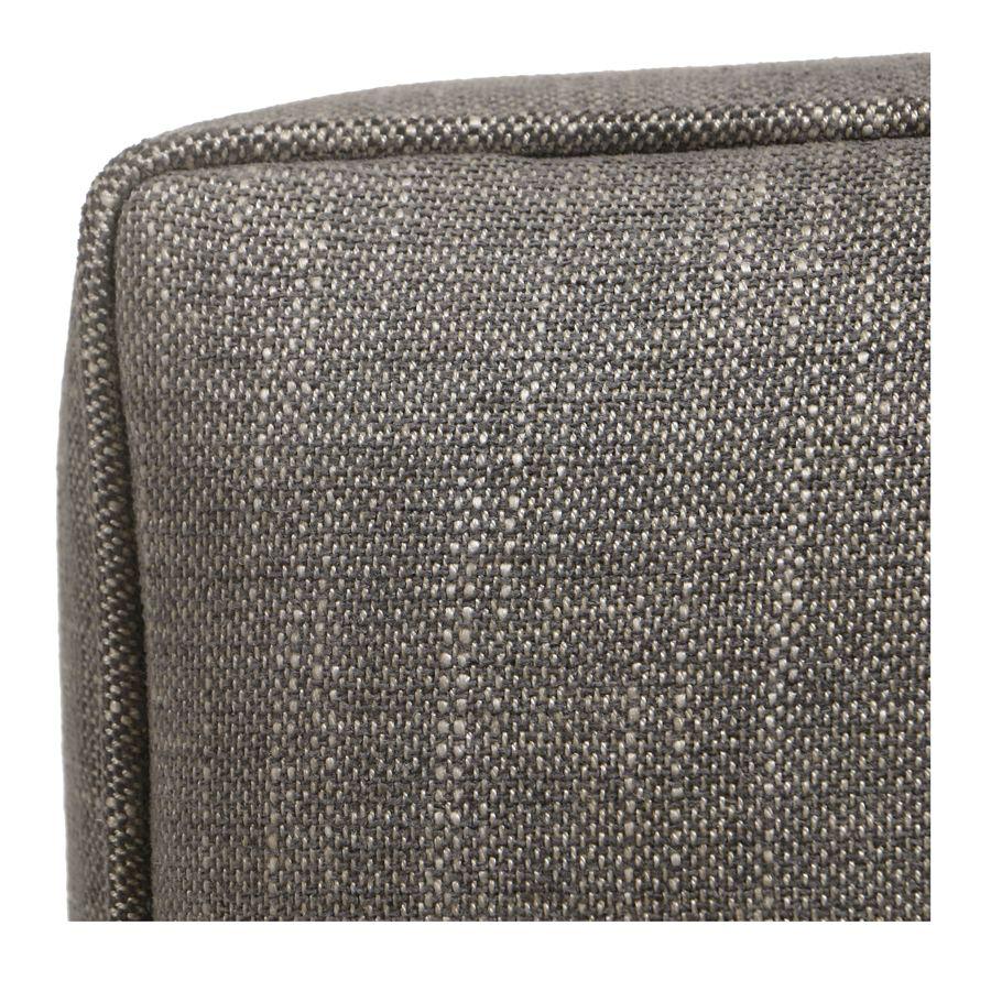 Pouf en frêne et en tissu gris chambray - Alfred