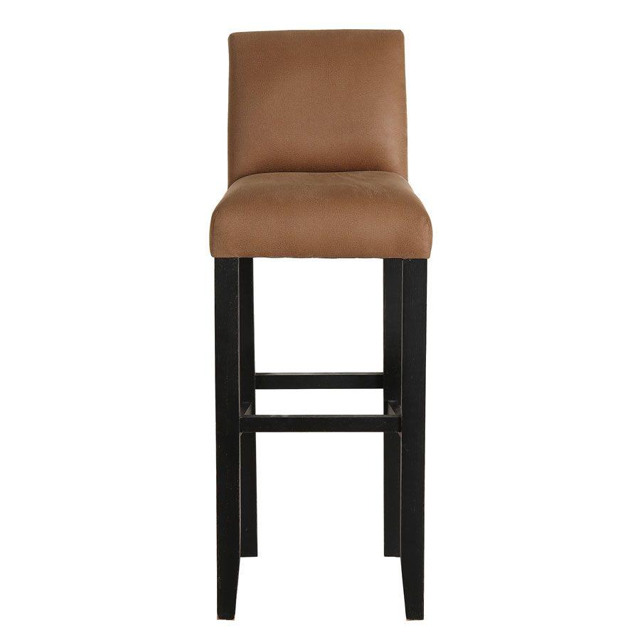 Chaise haute en hévéa noir et éco-cuir cognac