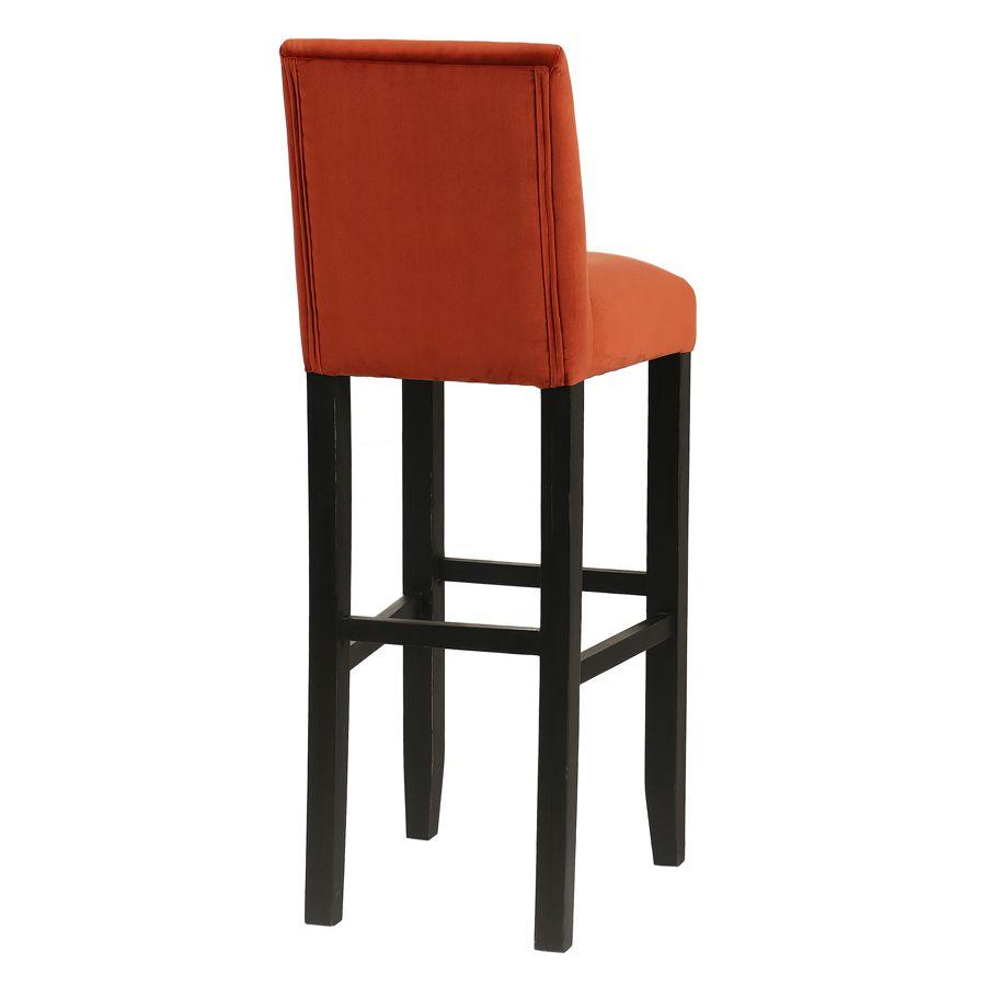 Chaise haute en velours rouille et hévéa massif noir - Ariane