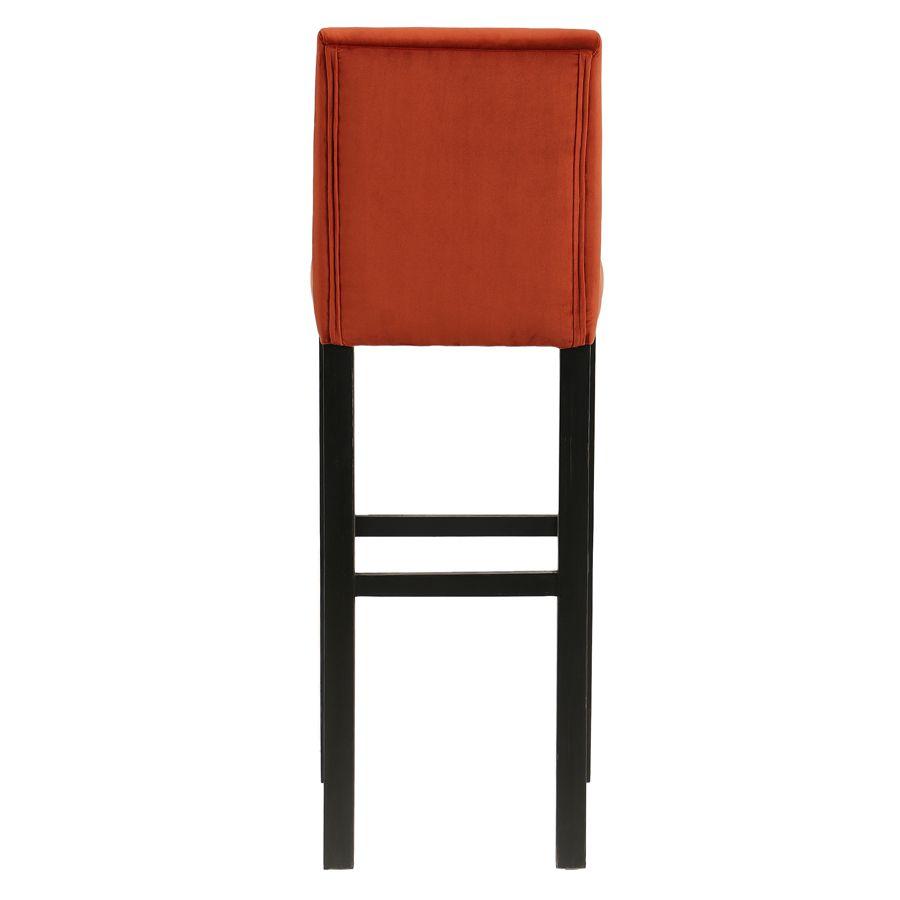 Chaise haute en velours rouille et hévéa massif noir