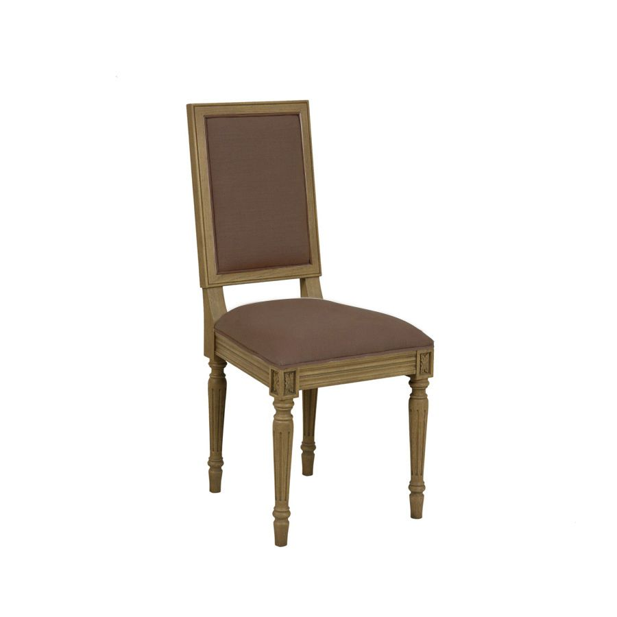 Chaise en chêne et tissu marron glacé - Honorine