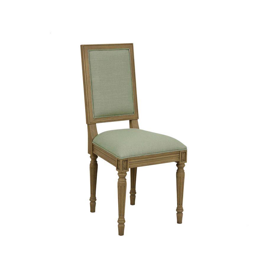 Chaise en chêne et tissu vert sauge - Honorine