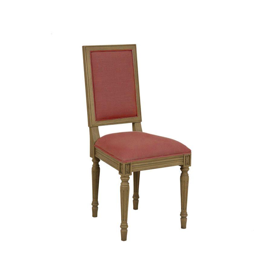 Chaise en chêne et tissu velours rose - Honorine