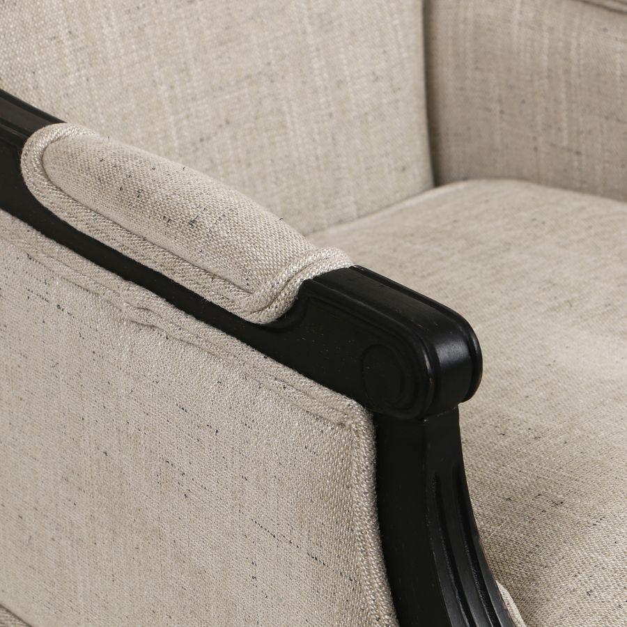 Fauteuil en tissu mastic grisé et hévéa noir - Honoré