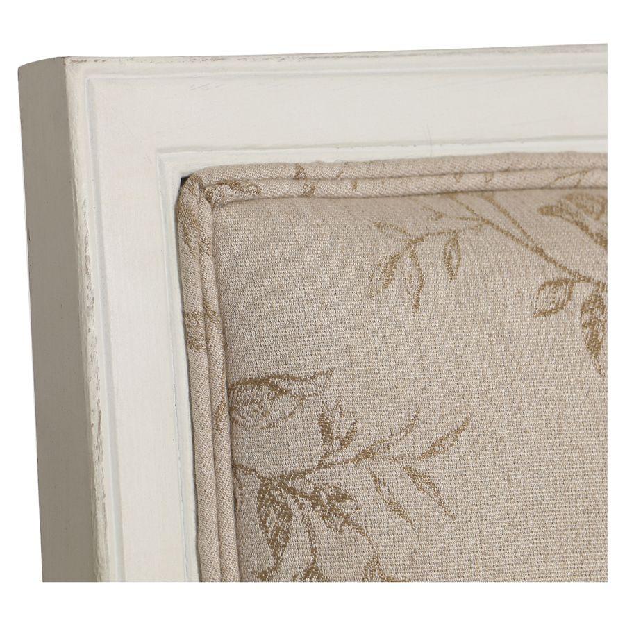 Fauteuil en tissu paradisier et hévéa massif blanc - Honoré