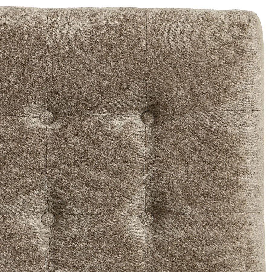 Tête de lit capitonnée 160 en hévéa noir et tissu velours taupe - Capucine