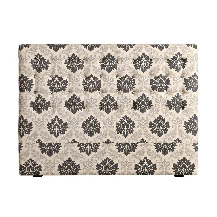 Tête de lit capitonnée 140/160 cm en hévéa noir et tissu arabesque - Capucine