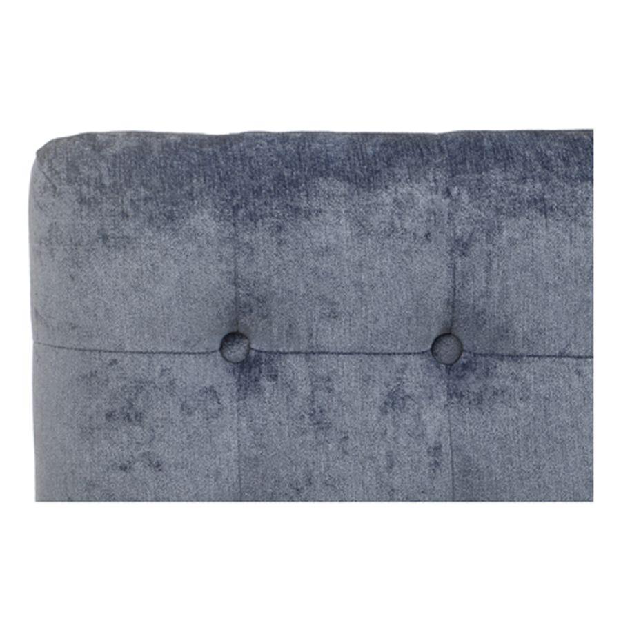 Tête de lit 140/160cm en tissu velours bleu capitonné - Capucine