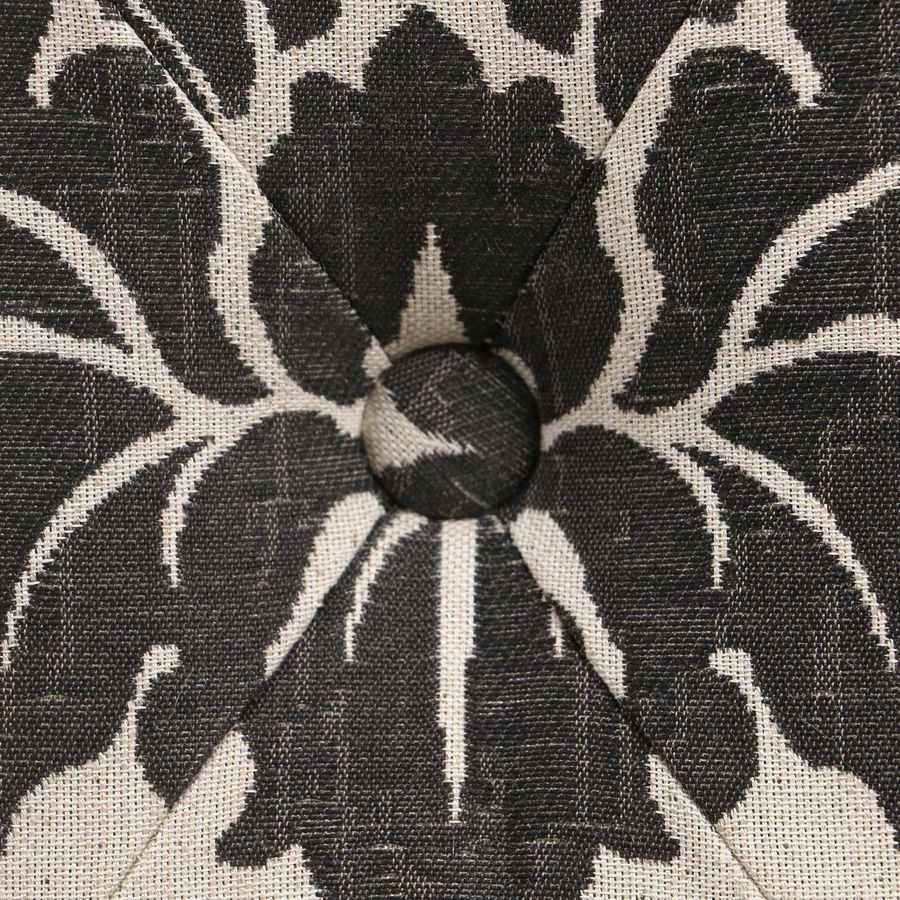 Banc en tissu arabesque et hévéa massif noir - Louison