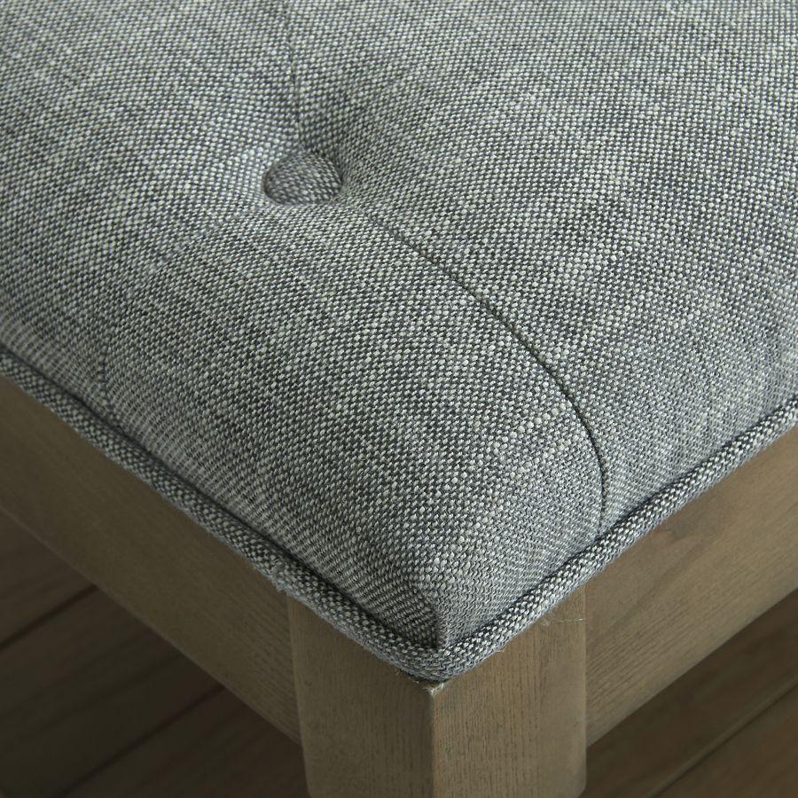 Banc en frêne et tissu gris chambray – Louison