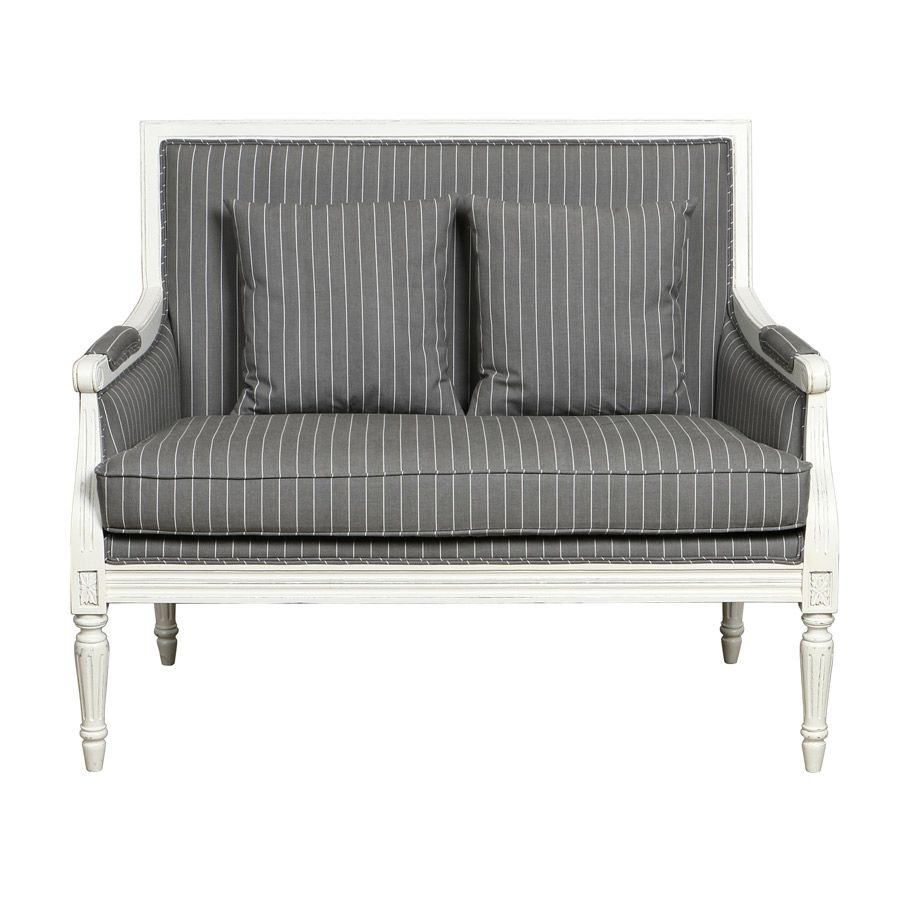 Banquette 2 places en tissu gris - Victoire