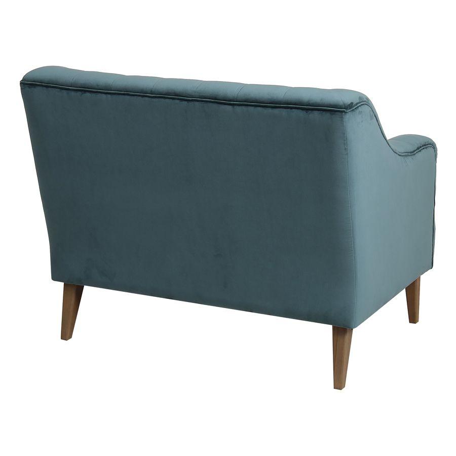 Banquette 2 places en tissu velours vert bleuté - Joséphine