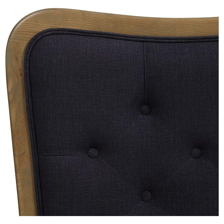 Tête de lit capitonnée 140/160 cm en frêne et tissu anthracite - Joséphine