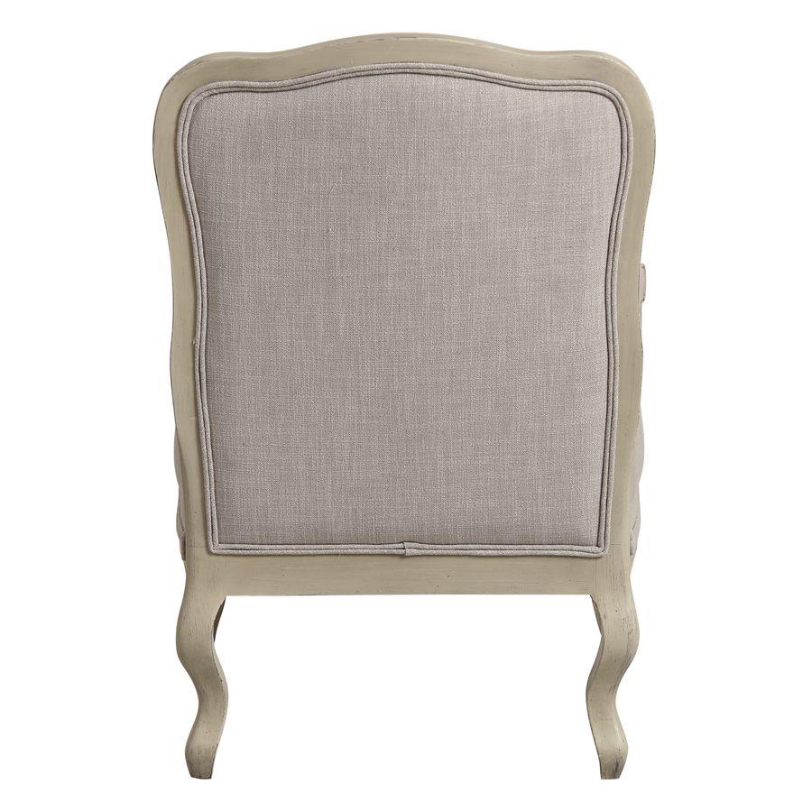 Fauteuil en tissu lin beige et finition château - Auguste