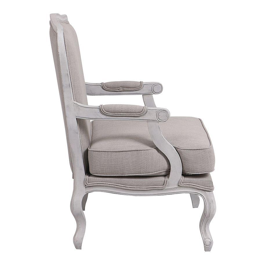 Fauteuil en tissu lin beige et finition gris argenté - Auguste