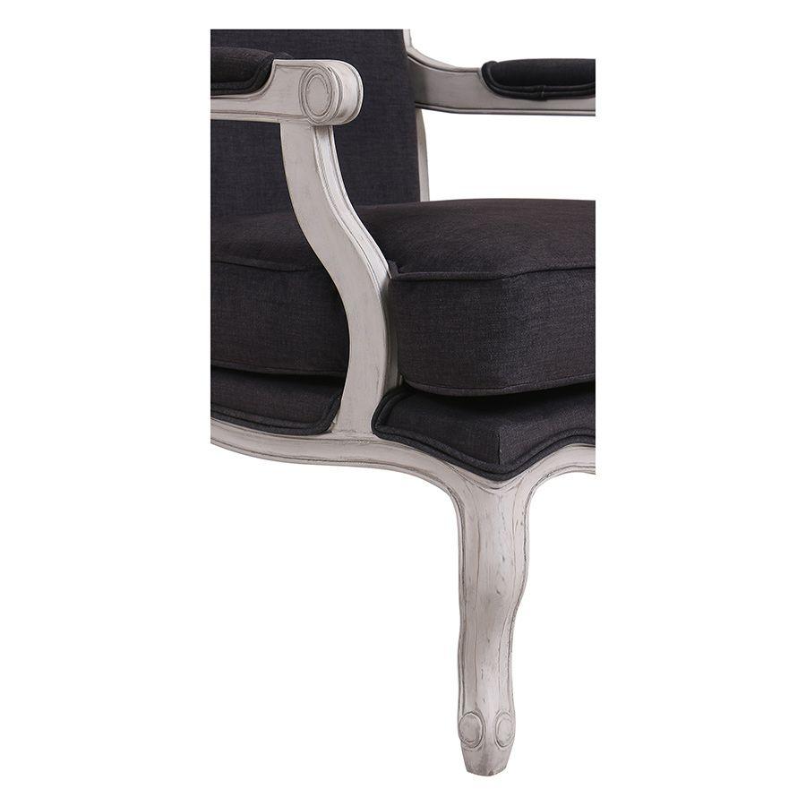 Fauteuil en tissu Anthracite et finition Château gris argenté - Auguste