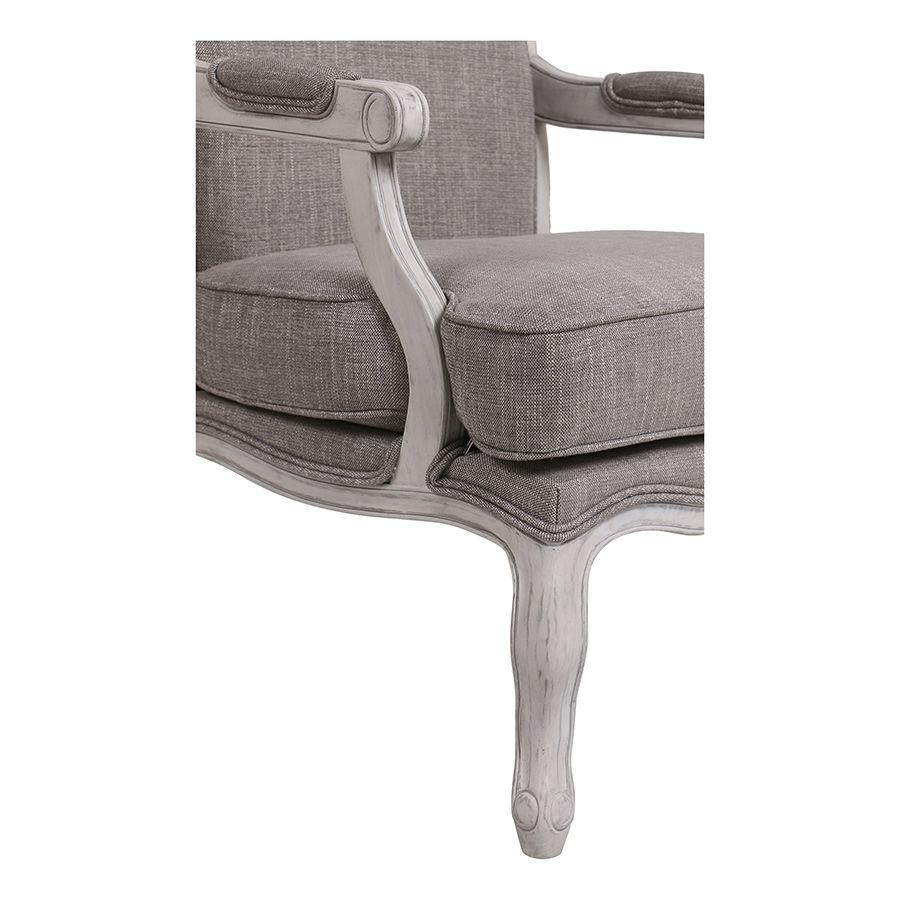 Fauteuil en tissu Gris chambray et finition Château gris argenté - Auguste