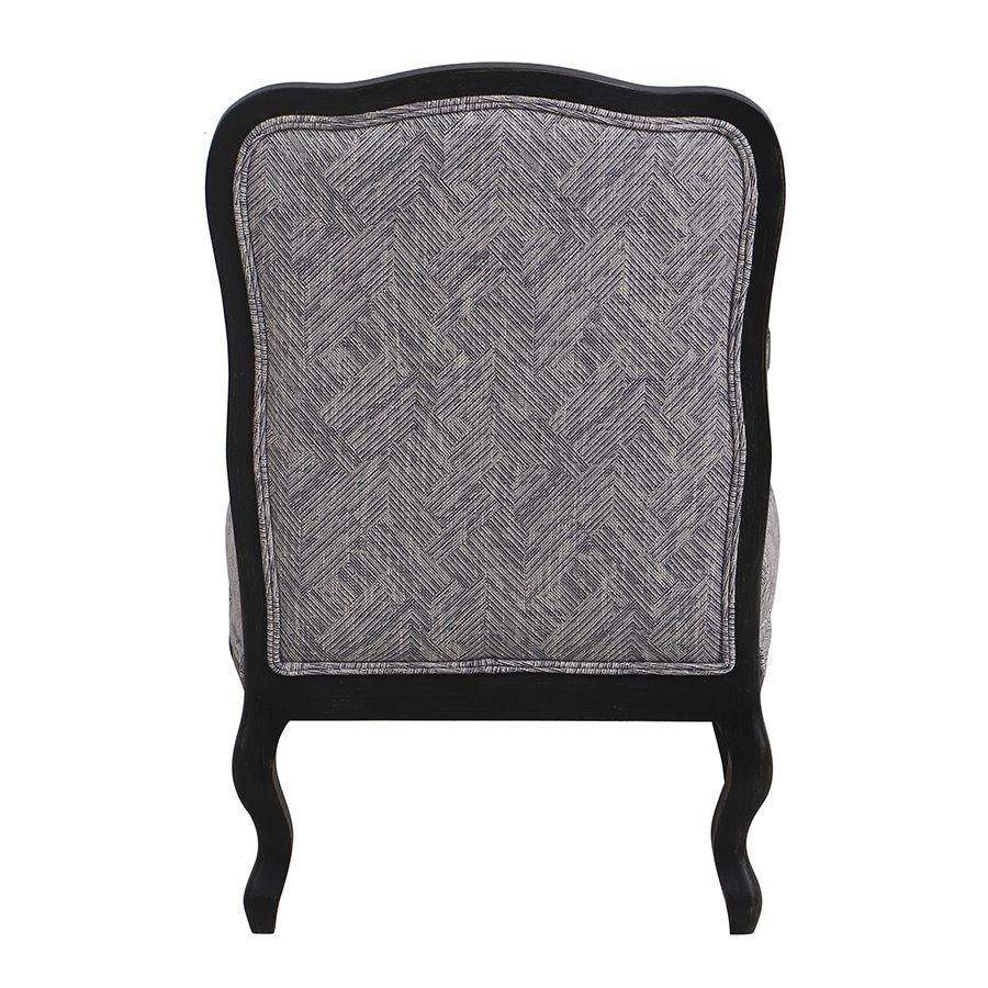 Fauteuil en tissu Mosaïque indigo et finition Noir - Auguste