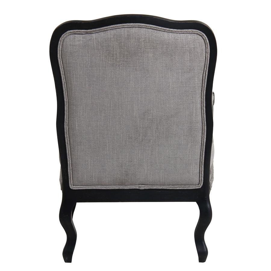 Fauteuil en tissu gris Chambray et finition noir - Auguste