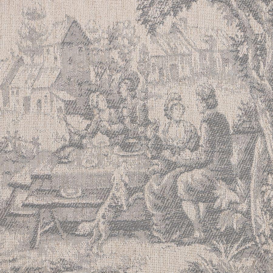 Fauteuil en tissu toile de Jouy et finition gris argenté - Raphaël