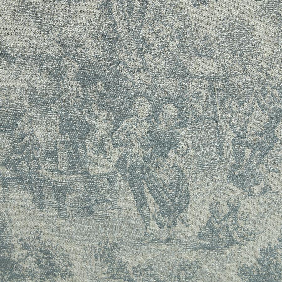 Fauteuil en tissu toile de Jouy et finition chêne - Raphaël