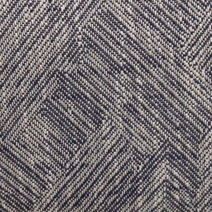Fauteuil crapaud en tissu mosaïque indigo et pieds noirs - Victor
