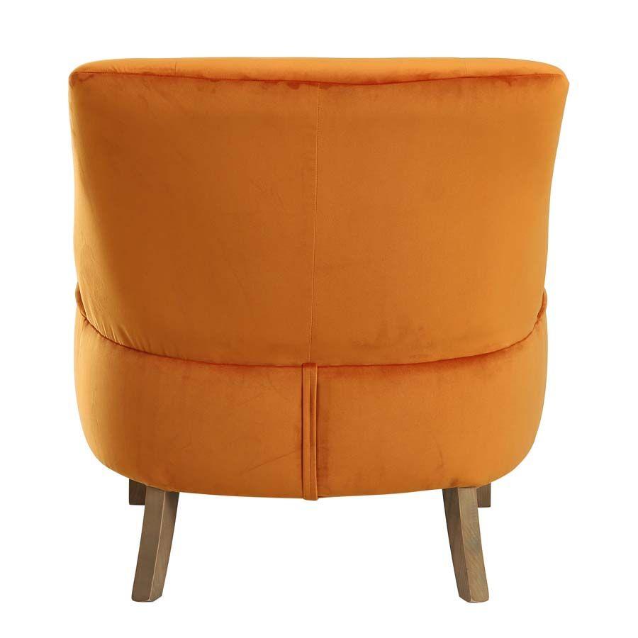 Fauteuil crapaud en tissu velours jaune safran - Victor