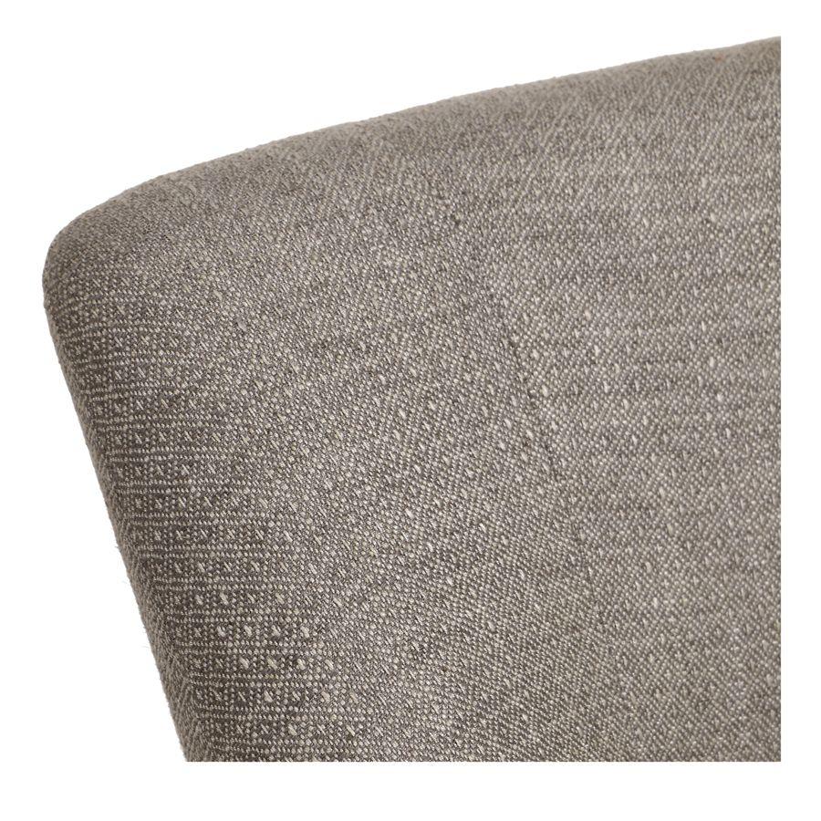 Fauteuil crapaud en hévéa blanc et tissu losange gris - Victor