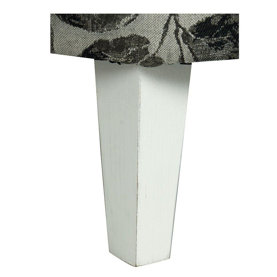 Fauteuil crapaud en hévéa blanc et tissu feuilles noires - Victor