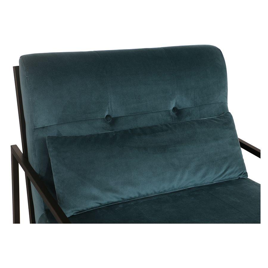 Fauteuil en métal et velours vert bleuté - Harry
