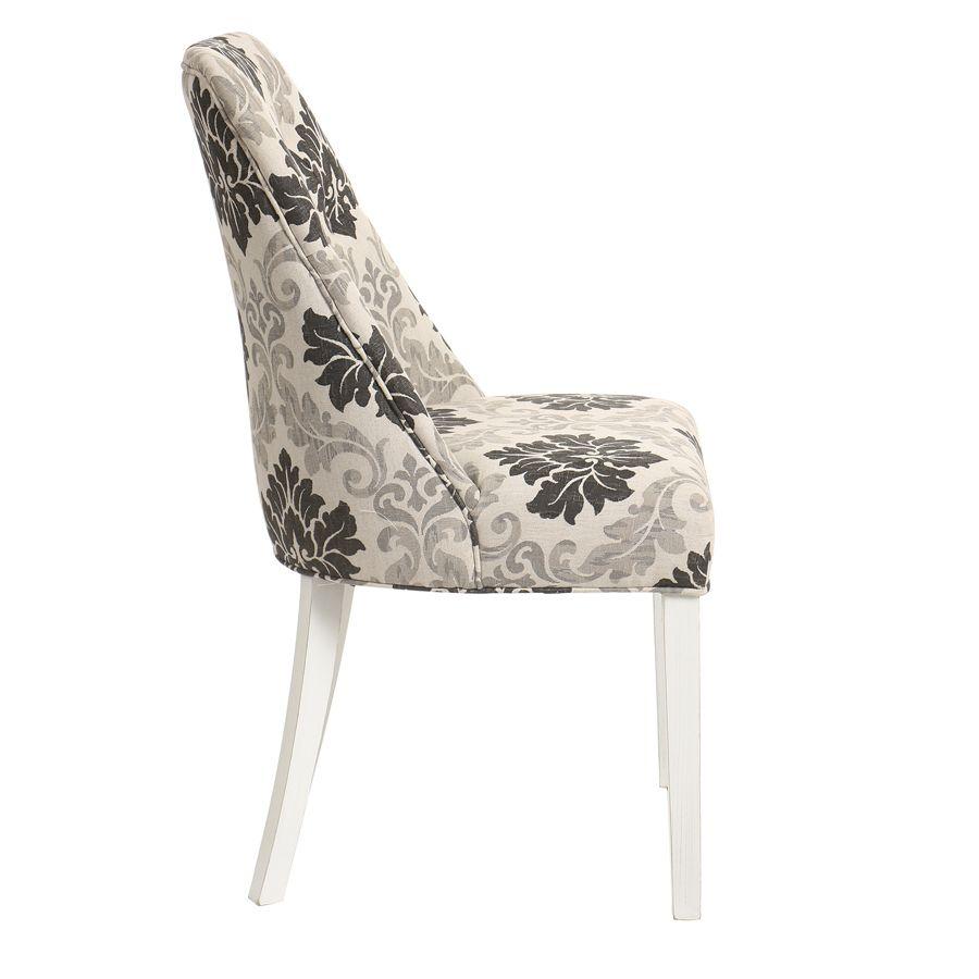 Chaise capitonnée en tissu arabesque et hévéa blanc - Judith
